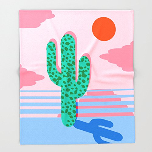 No Foolin - retro throwback neon art design minimal abstract cactus desert palm springs southwest Throw Blankets