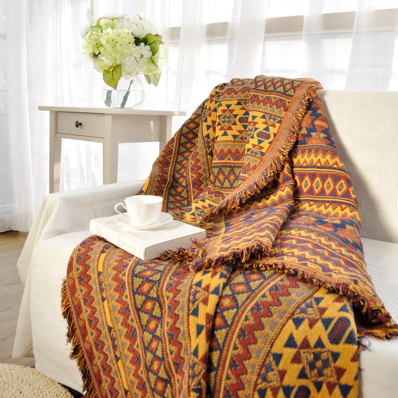 Ethnic Style Yellow Sofa Towel Blanket Geometric Pattern Carpet For Living Room Bedroom Rug Bedspread Dust
