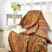 Ethnic Style Yellow Sofa Towel Blanket Geometric Pattern Carpet For Living Room Bedroom Rug Bedspread Dust
