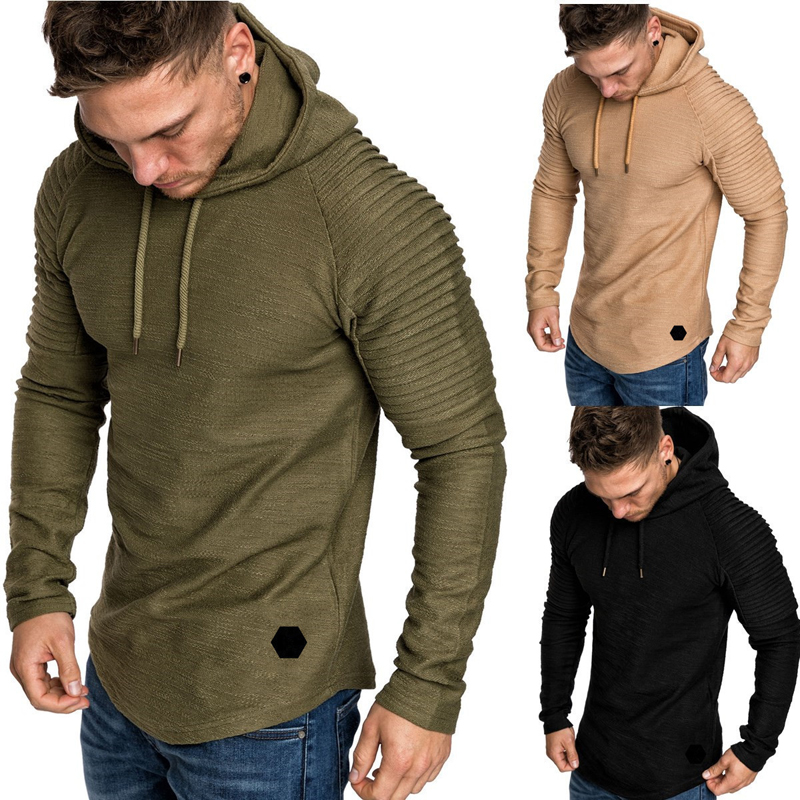 Fashion Mens Hoodies Solid Color Hooded Slim Sweatshirt Hip Hop Hoodies Sportswear Tracksuit 6