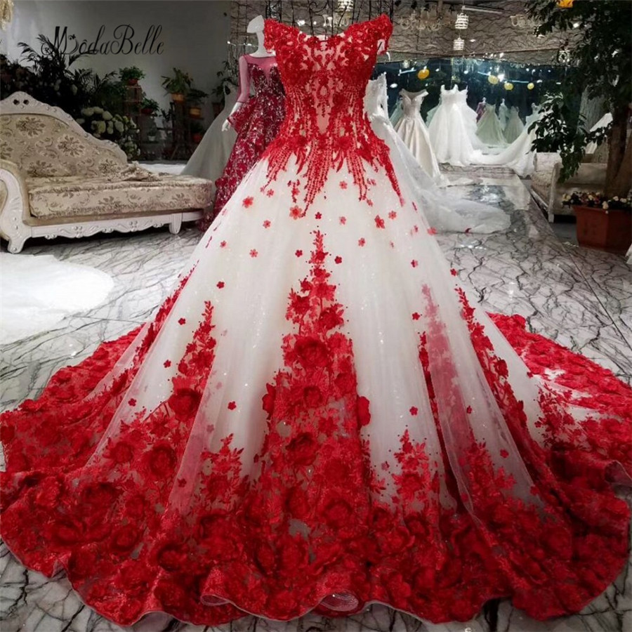 Modabelle Romantic Red Lace Flower Wedding Dress With 100cm Train Ball Gowns Luxuriant Bridal Dress Lace Up Robe De Mariage