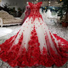 Modabelle Romantic Red Lace Flower Wedding Dress Ball Gowns 2018 Luxuriant Bridal Dress Lace Up Robe