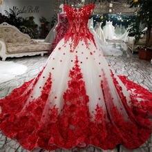 Романтическое красное кружевное свадебное платье с цветами modabelle