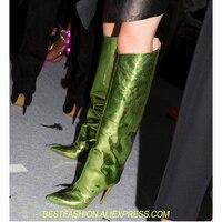 Для подиума женская обувь зеркало металлик колено высокие зеленые кожаные сапоги до бедра лето осень Для женщин сапоги с острым носом на вы