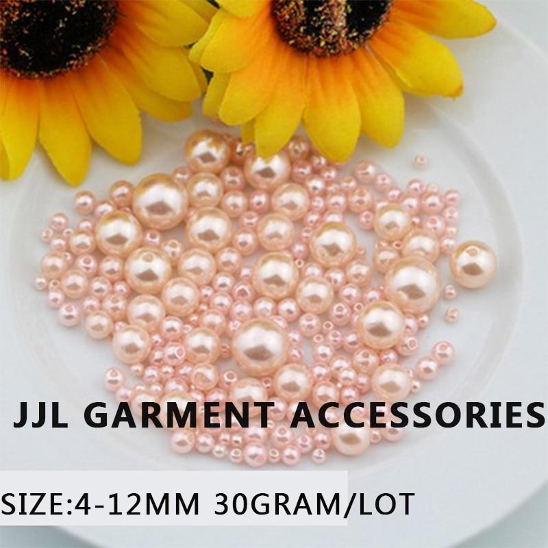 efea0a8717625 مزيج حجم 30 جرام وحدة الوردي تقليد جولة اللؤلؤ الخرز مع هول خياطة على  للملابس فستان الحرف اليدويه الخرز ل مجوهرات