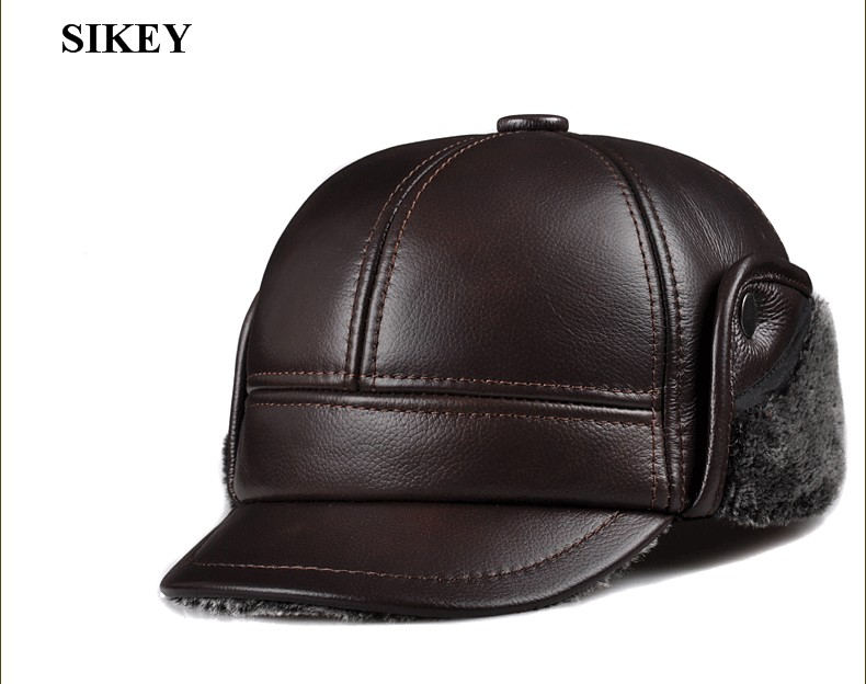 коричневая кожаная шапка