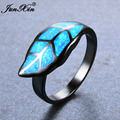 JUNXIN Top Quality Leaf Style Blue Fire Opal Rings For Women Men Black Gold Filled Unique Ring Wedding Party Engagement Jewelry
