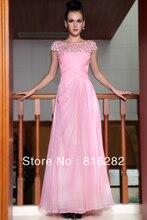 Modest vestidos Bartow seda rosa de manga curta vestido de chiffon(China (Mainland))