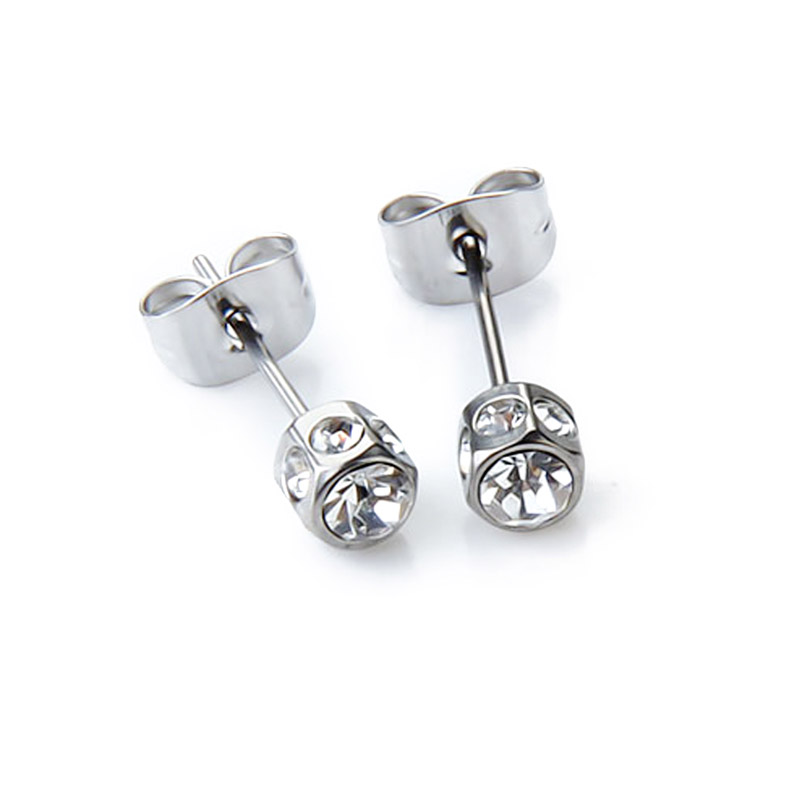 2pcs Mens Earring Stud with Stainless Steel Diamante 2016 Newest Arrival ee