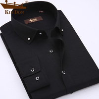 KIN DON Smart Casual Shirts Men High Quality Male Long Sleeve Solid Shirt Simple Design Youth