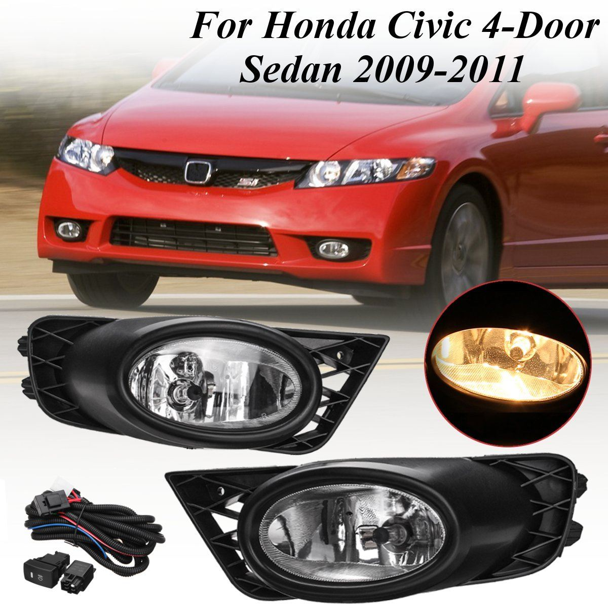 Pair H11 Bumper Driving Fog Lights w/ Harness Replacements For Honda/Civic 4-Door Sedan 2009 2010 2011 55W DC 12V