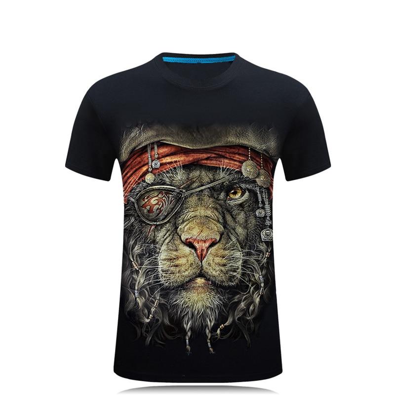 SWENEARO 2018 Hombres 3D La más nueva novedad Animal Creative 3d camiseta Pirata leopardo impreso manga corta O cuello Algodón Tops y camisetas