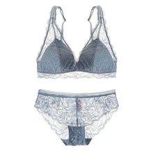 2018 new wireless sexy lace intimates 32 38 A C thin cotton cup comfortable bralette women underwear sets ladies French bra set