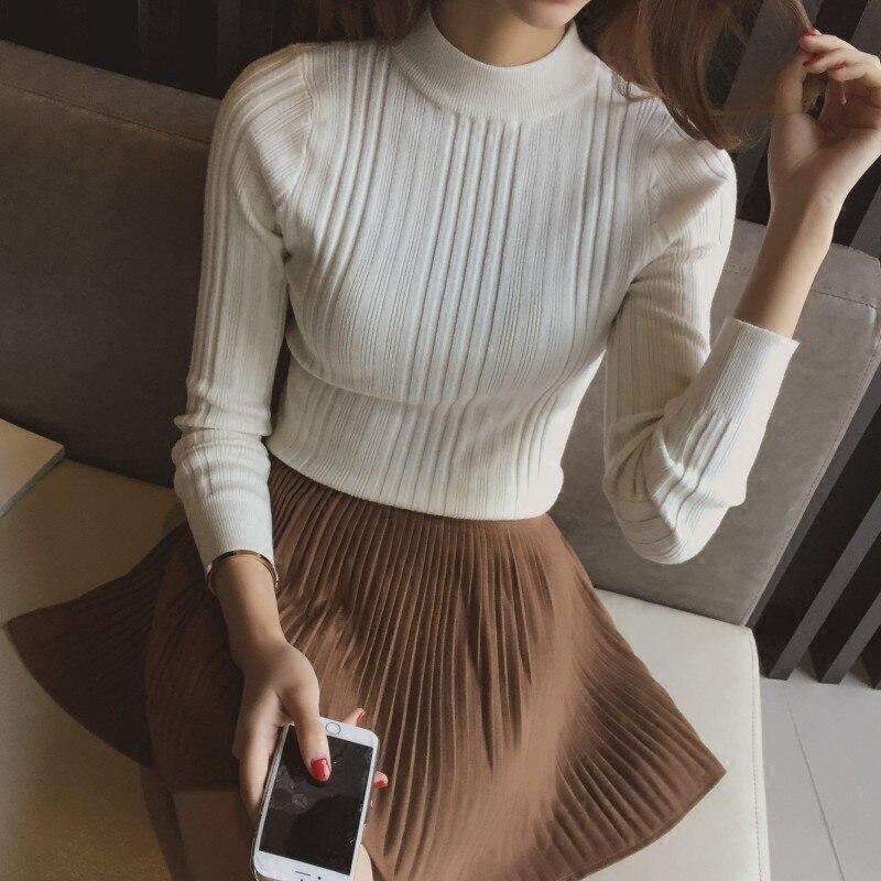OHCLOTHING 2018 medio cuello alto suéter corto cabeza de manga femenina camisa delgada nuevo suéter de invierno engrosamiento estudiantes femeninas