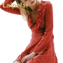 цены на Laipelar Women Ruffle V Neck Long Sleeve Polkadot Print Summer Dress Vintage Red Irregular Bow Tie Wrap Short Dress Beach Dress  в интернет-магазинах