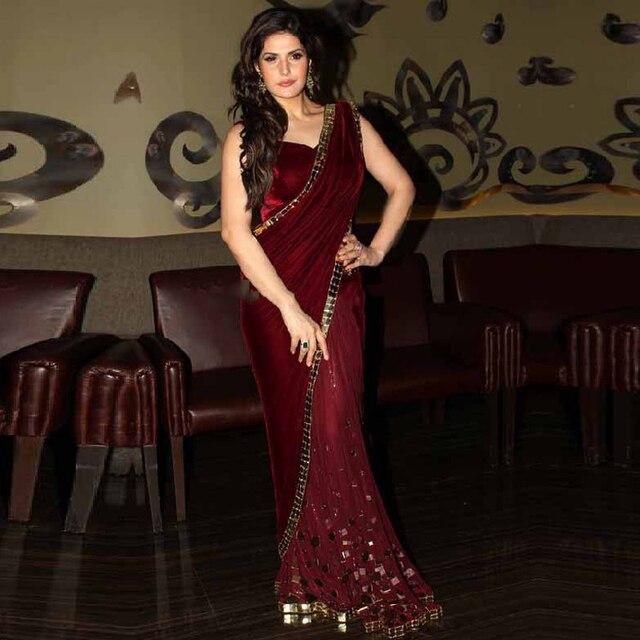 Fashion Burgund Samt Saree Indische Abendkleider Vintage Frauen ...