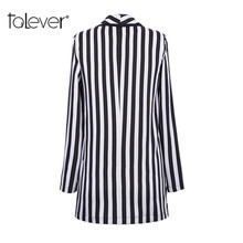 Talever Striped Blazer Women Work Office Slim Suit Blazer Jacket Long Sleeve Business Female Autumn Blazer Coat Plus Size 5XL