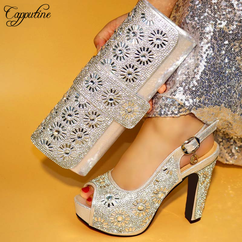 87c668df57cc Capputin New Design High Heels Gold Color Shoes And Bag Set For Wedding  Italian Design Pumps Shoes And Bag Set Wholesale Price-in Women s Pumps  from Shoes ...