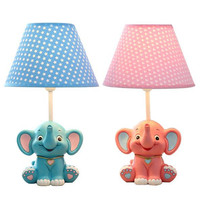NEW Lovely Cartoon Blue/Pink Resin Elephant Led E27 Dimmer Table Lamp for Kid's Present Bedside Night Light AC 80 265V 1684