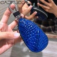 CAJIFUCO Real Crocodiles Skin Car Key Holder Wallet Python Skin Key Organizer Snakeskin Purse Ostrich Grain Car Key Wallet Ring