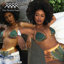 Gold edge Printing Bikini Set Sexy Halter Padded Swimsuit Women High Waist bikini NK52