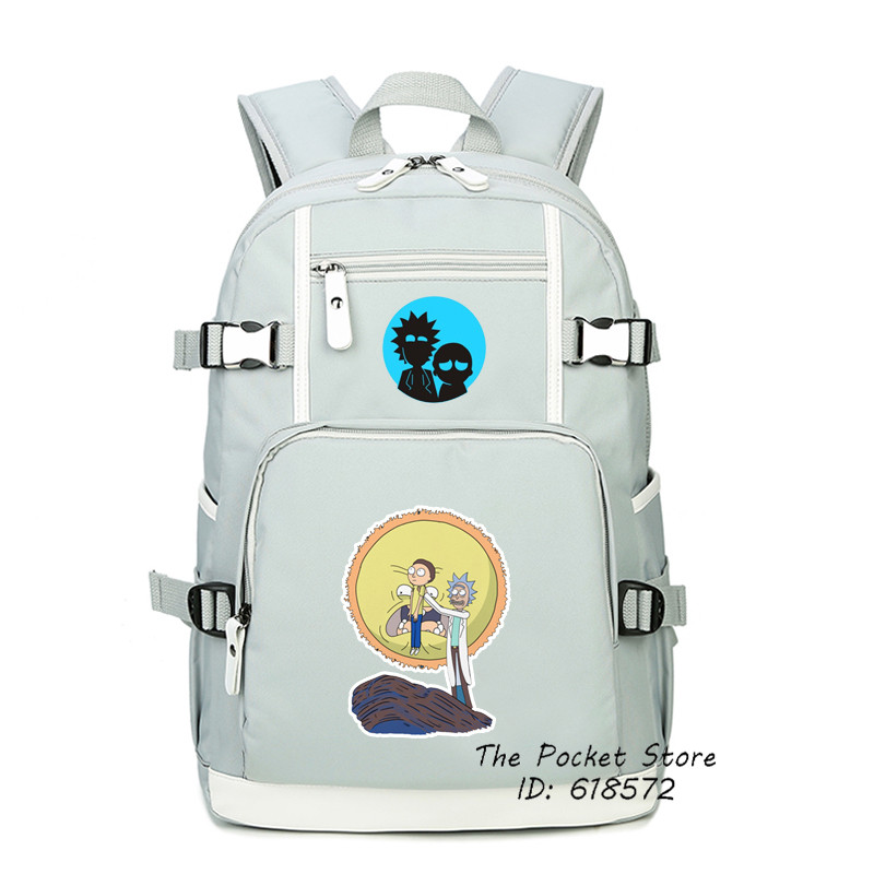 High Quality 2017 New Funny Cartoon Rick and Morty Printing Backpack Canvas School Bags for Teenage Girls Mochila Feminina high quality anime death note luminous printing backpack mochila canvas school women bags fashion backpacks for teenage girls