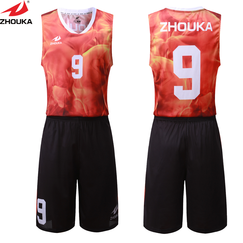 f5e89aa8d Red fire digital sublimation printing custom basketball kits your own  design basketball jersey customizing Top quality