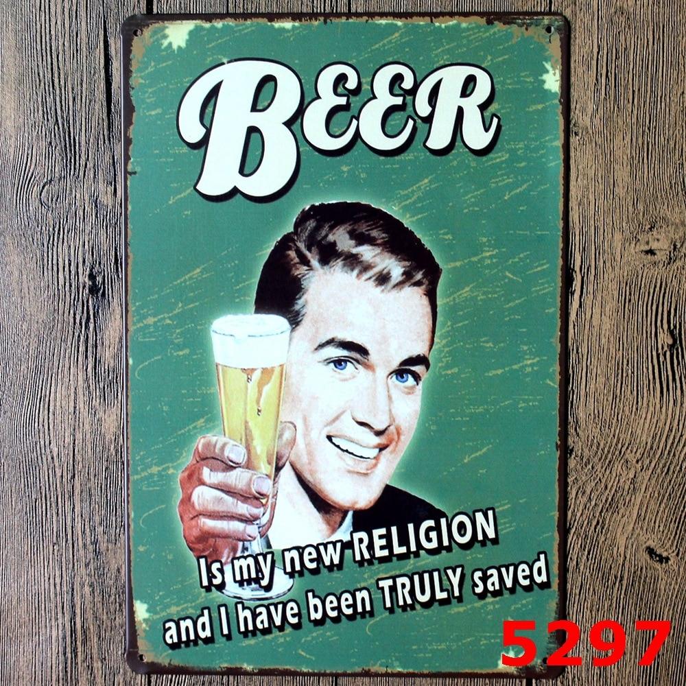 BEER & Wine Vintage Home Decor Tin Sign For Beer Bar Pub Wall Decor ...