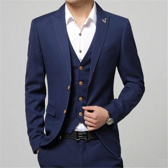 2018 Latest Coat Pant Designs Navy Blue Men Suit Formal Slim Fit Wedding  Groom Blazer Gentle Style Prom Custom 3 Piece Terno qe 766291ccec1c
