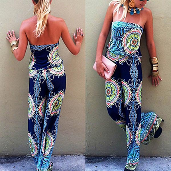 Hot Fashion Women Off Shoulder Floral Print   Jumpsuit   Sleeveless Boho Summer Beach Party Long Playsuit MSK66