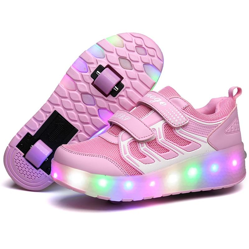 купить Colorful LED Flashing Two Wheel Roller Skates Shoes for Kids Female Boy Girl Roller Skates Pulley LED Luminous Sneakers Heelys 2 по цене 2022.25 рублей