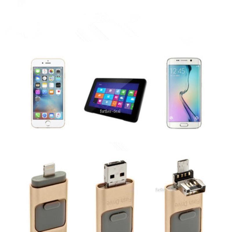 USB Flash Drives USB3.0 8GB 16GB 32GB 64GB 128GB 256GB  Metal Memory Stick For iPhone X/8/7/7 Plus/6/6s/5/SE/ipad