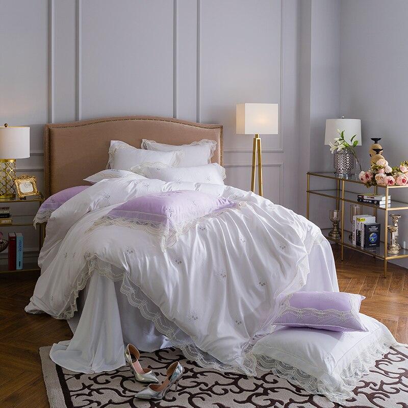 Длинный штапельный хлопок корейский стиль роскошный Принцесса мечта фиолетовый Свадьба RUIYEE бренд 4 шт. супер king size пододеяльник комплект по