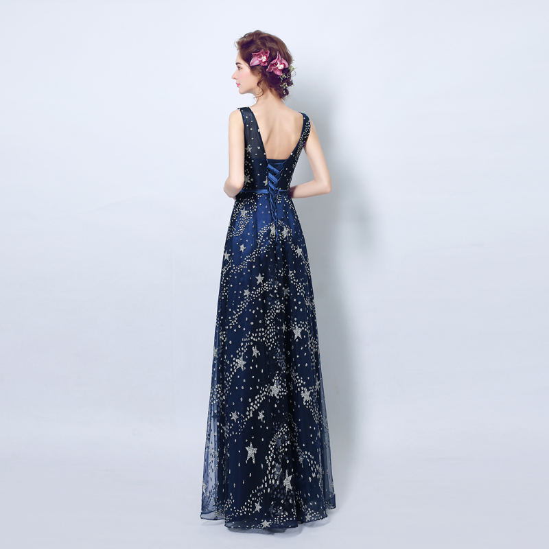 LE CELEBRE Blue star lace evening dress dinner on the stage will host performances long section evening dress new 3200