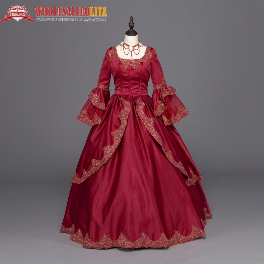 Бордовый Мария Антуанетта Colonial парча период платье бальное платье стимпанк Костюмы праздничные костюмы Костюмы s