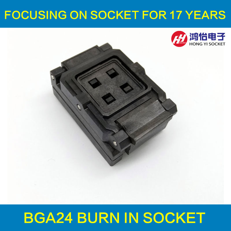 BGA24-1.0 Clamshell Burn In Socket Pin Pitch 1.0mm IC Grootte 6*8mm Pin Raster 5*5 4*4 BGA24 (6*8)-1.0 BGA24 VFBGA24 Burn In Socket