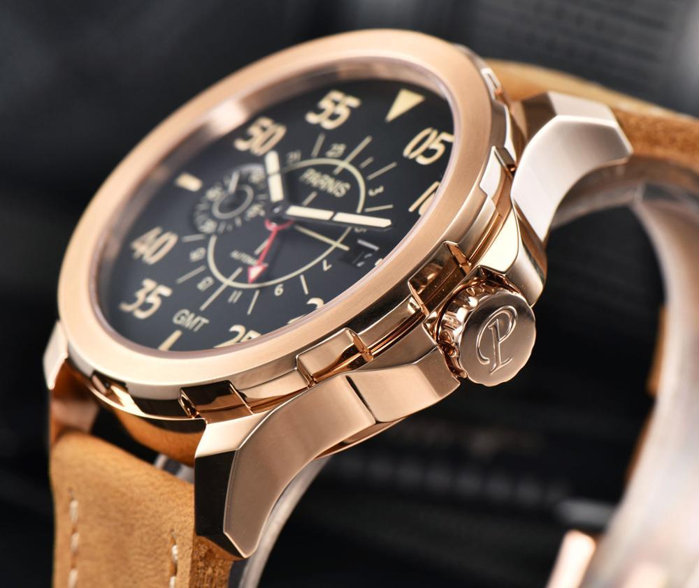 Parins 44 millimetri quadrante nero luminoso mani GMT movimento degli uomini di automatic Casual orologio-in Orologi meccanici da Orologi da polso su  Gruppo 3