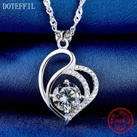 Love Necklace 925 Sterling Silver Charm Heart Pendant Woman Necklace Fashion Luxury AAAA Zircon Necklace Jewelry