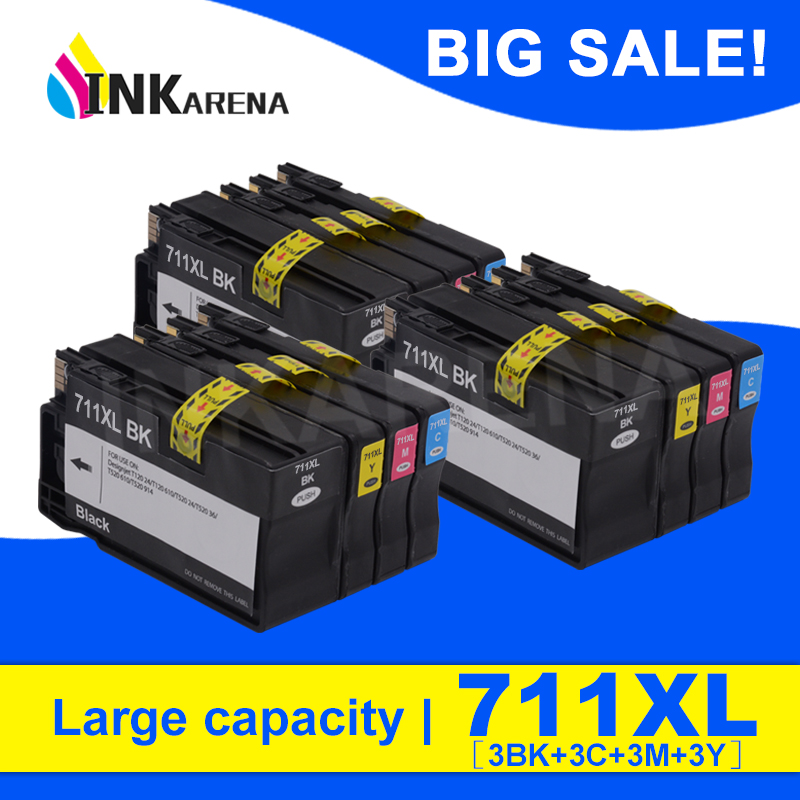 INKARENA 3 Set Full Ink Cartridges Replacement For HP 711 XL For HP711 711XL For HP Designjet T120 T520 Printer inkjet Cartridge-in Ink Cartridges from Computer & Office