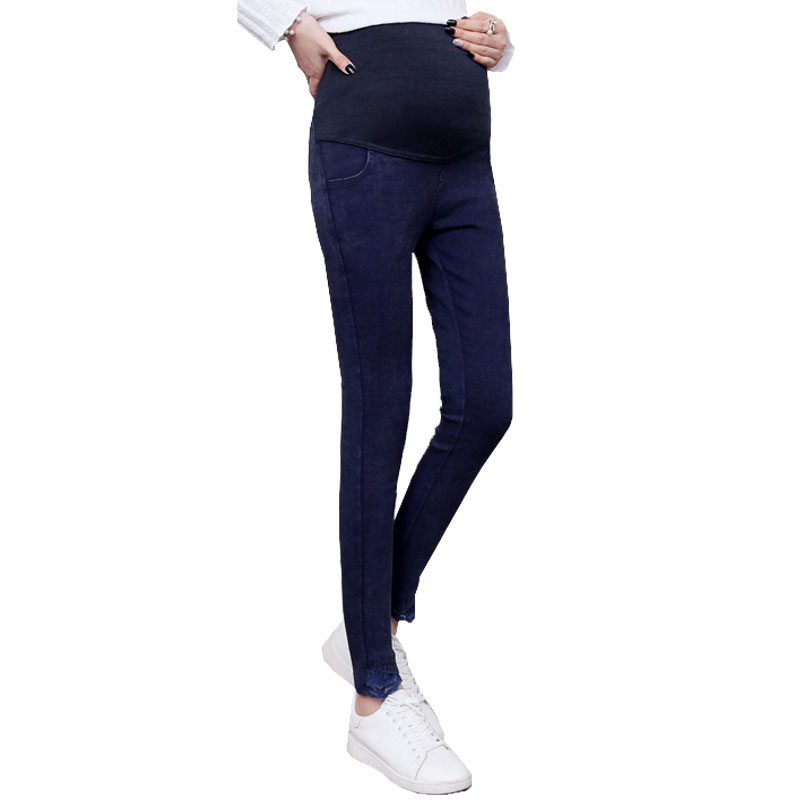 Lace Stretch High Waist Maternity Jeans For Pregnant Women Denim Pants Cotton Pregnancy Prop Belly Pants Abdominal Jean Gravidas cocoepps casual denim ankle length trousers large size high waist fashion women s jeans 2017 women stretch pencil pants 5xl 6xl