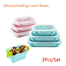 3 Pcs Portable Candy Color Silicone Folding Bowl Lunch Box Food Storage Crisper Collapsible Tableware Bowl(China)