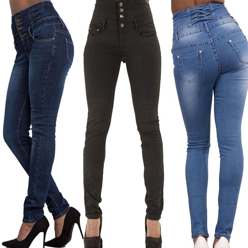 2016 New Arrival Wholesale Woman Denim Pencil Pants Top Brand Stretch Jeans High Waist Pants Women High Waist Jeans 2