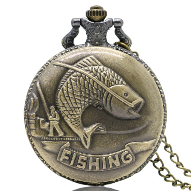 New Arrival Bronze Fishing Angling Quartz Antique Pocket Watch With Necklace Cha