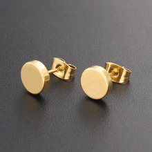 08f79914357b20 1 Pair Punk 3-12MM Round Stainless Steel Gold Color Stud Earrings For Women  Simple