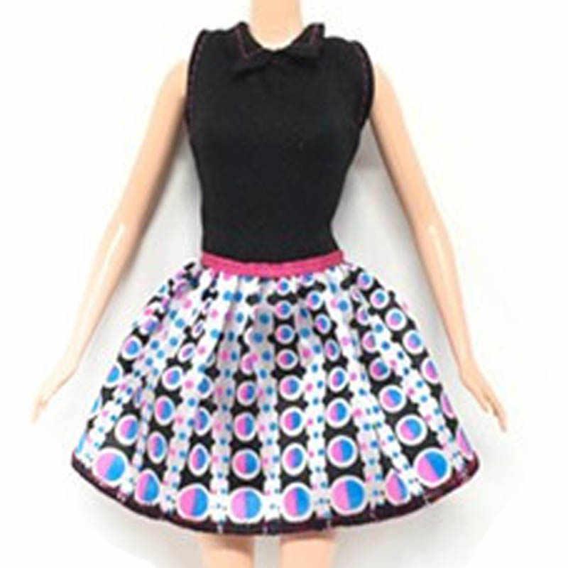 Ropa informal para muñecas Barbie, vestidos cortos punteados con parte superior negra para muñecas Barbie, ropa para muñecas