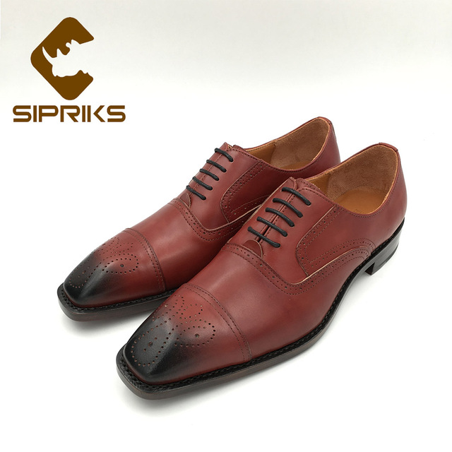 Sipriks Mens Red Brown Calf Leather Brogue Oxfords Square Toe Church Shoes  Italian Handmade Goodyear Welted Shoes Formal Suits d8d5362c47ab