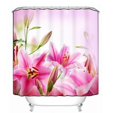 3D Shower Curtains Bathroom Products Green Big Flower