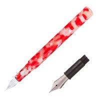 Wanwu Kreative Zelluloid Rot Weiß Mini Glas Dip Pen & Brunnen Stift Tasche EF/F/Kleine Gebogen nib Bunten Stift & Box Geschenk Set|Füllfederhalter|   -