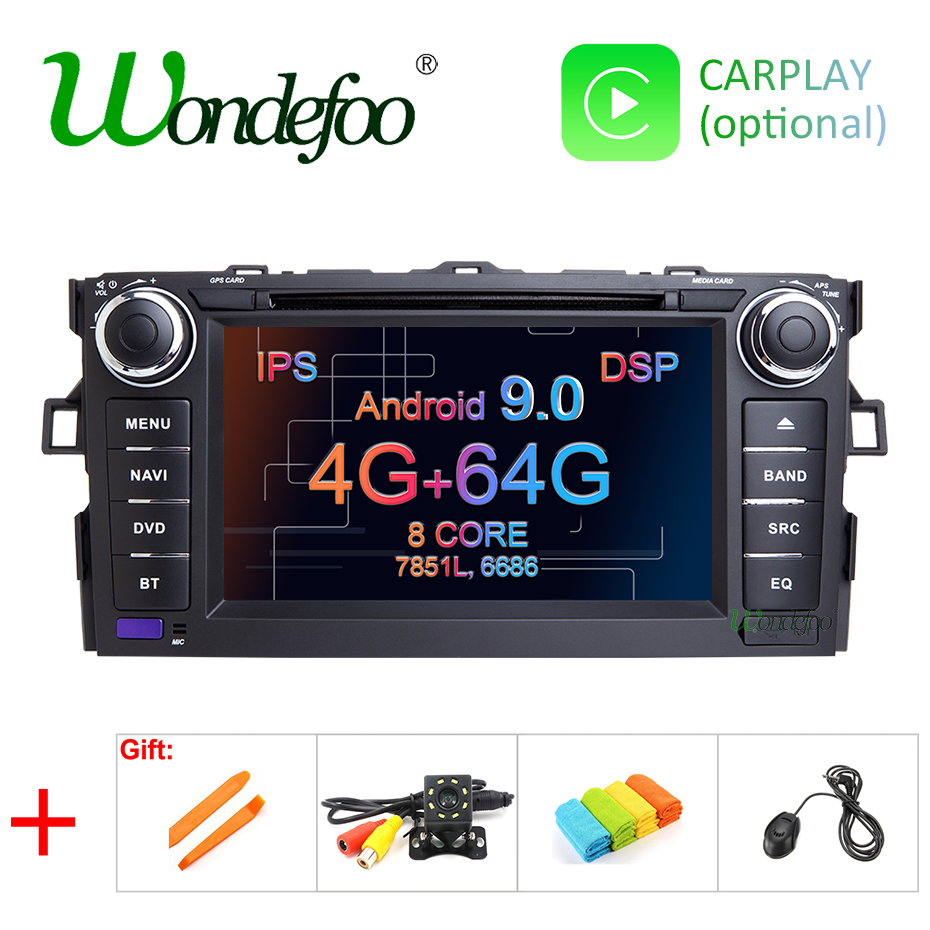 DSP IPS Android 9 0 64G 2 DIN DVD PLAYER For TOYOTA AURIS Altis COROLLA 2012