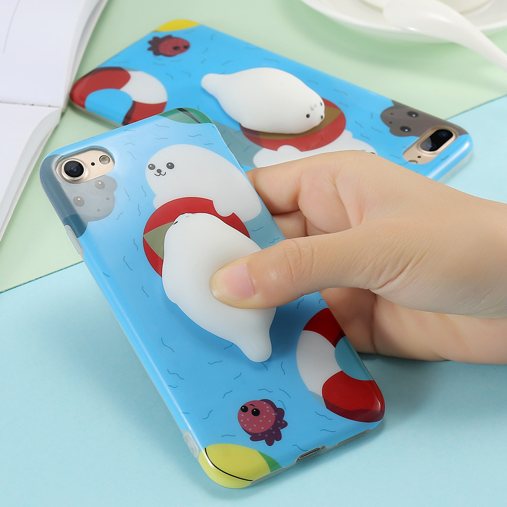Cute 3D Squishy Case For iPhone 7 Plus 7 Lovely Soft Cartoon Cat Animal Silicone Mobile Phone Case For i Phone7 7P Protect Case
